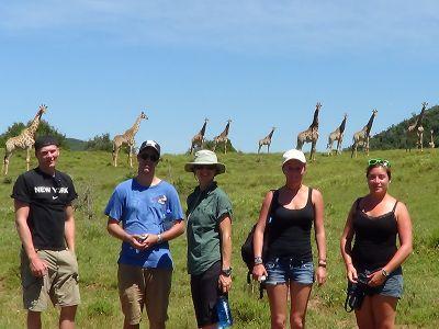 Wildlife volunteers in front of giraffes